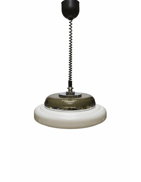 Vintage hanging lamp, white-brown shade with pull pendulum, 1960s