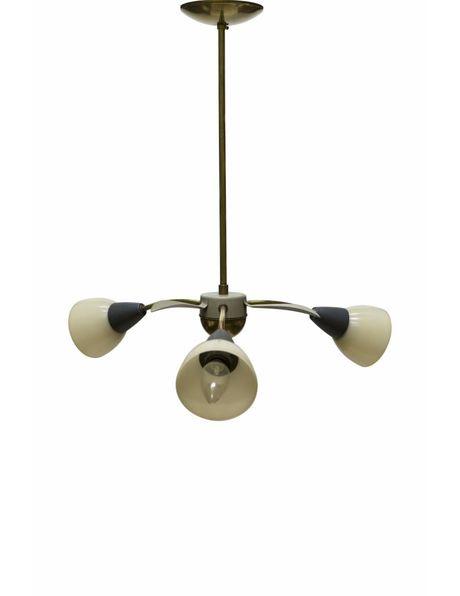 Vintage hanglamp, koper armatuur met grijs-crème armen, ca. 1960