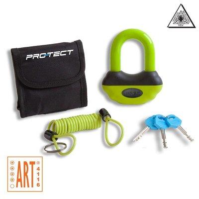 Pro-tect Topaz ART-4 schijfremslot geel-groen met reminderkabel en tas