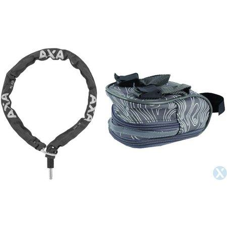 AXA Insteekketting RLC 100cm (grijs) met zadeltas Isis