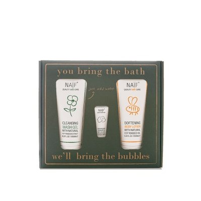 Naïf Bubbles Gift Set (Wash Gel 200ML, Body Lotion 200ML + Travel Size)