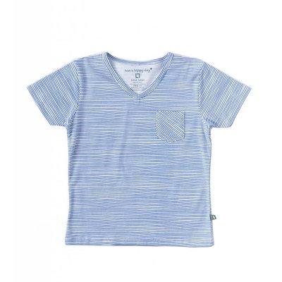 Little Label Shirt V-hals boys – oceaanblauw gestreept