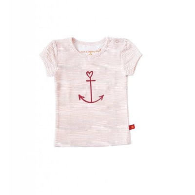 Little Label Shirt korte mouw girls – lichtroze gestreept