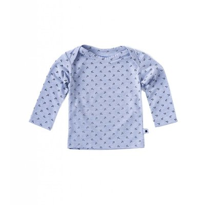 Little Label Shirt lange mouw – lichtblauw met zwarte ankertjes