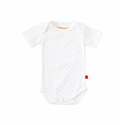Little Label Romper korte mouw – off white met roze ankertjes