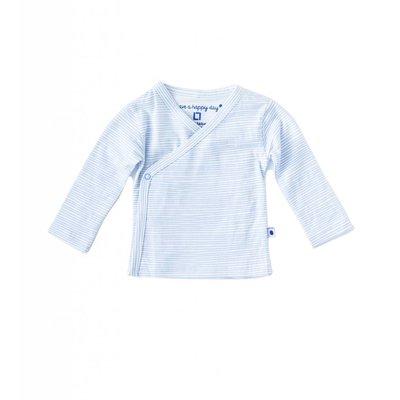 Little Label Wikkelshirt lange mouw – lichtblauw gestreept