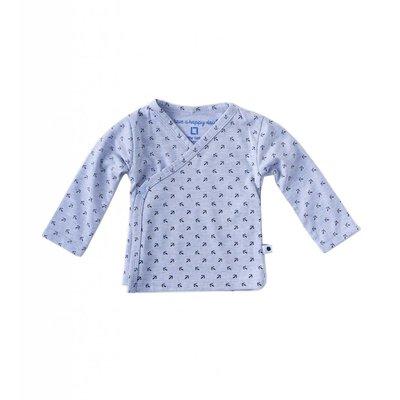Little Label Wikkelshirt lange mouw – lichtblauw met zwarte ankertjes
