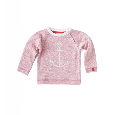 Little Label Sweater met print – roze gemêleerd