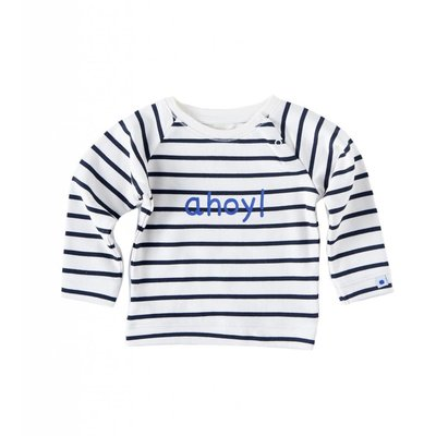 Little Label Sweater met print – off white met zwarte strepen