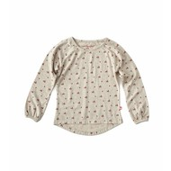 Little Label Shirt baby girl – beige met rozerode boompjes