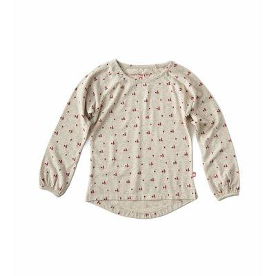 Little Label Shirt baby girl – beige gemêleerd met rozerode boompjes – maat 74 en 80