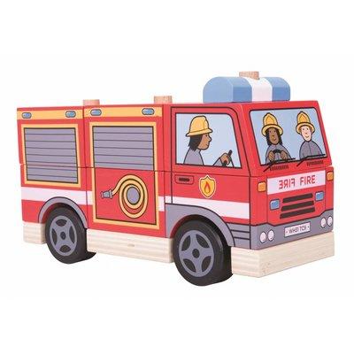 Bigjigs Toys Houten Speelgoed Brandweerwagen 2-in-1