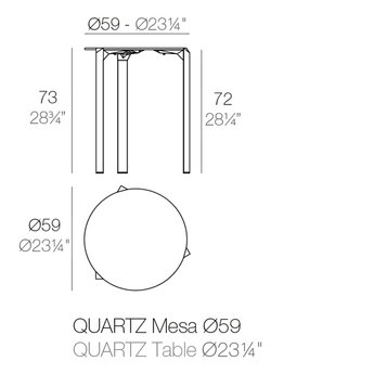 Vondom Quartz eettafel rond 59 x 73 cm