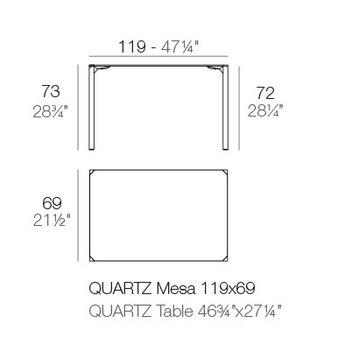Vondom Quartz eettafel 119 x 69 x 73 cm