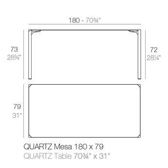 Vondom Quartz eettafel 180 x 79 x 73 cm