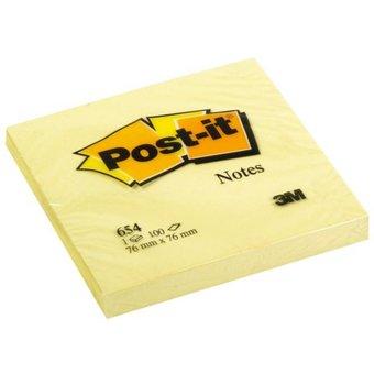 Post-it memo notes 76x76mm 654 geel - 12 stuks