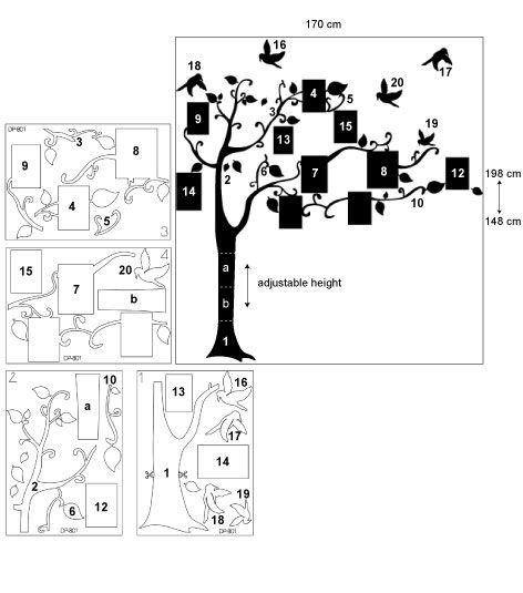Coart Muursticker Coart - Familieboom (Bruingrijs)