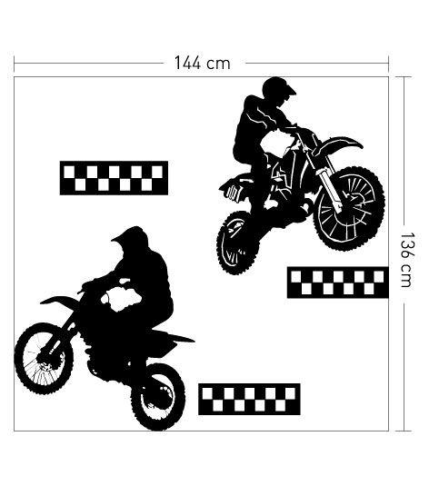 Coart Muursticker Kinderkamer Coart - Motorcrossers