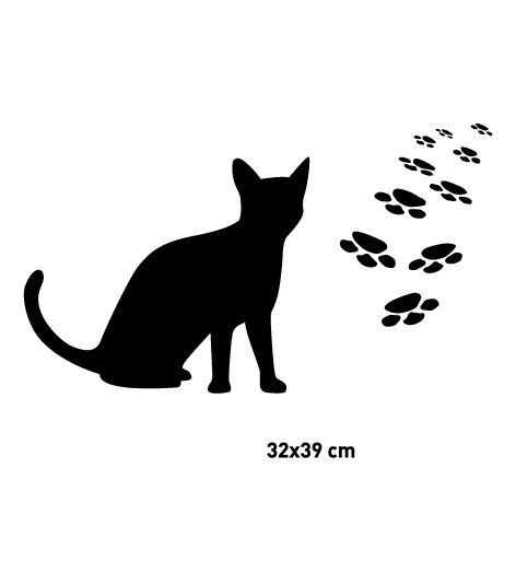 Coart Muursticker Kinderkamer Coart - Katje met pootafdrukjes