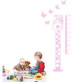 Coart Muursticker Kinderkamer Coart - Meetlat Giraf (Licht Roze)