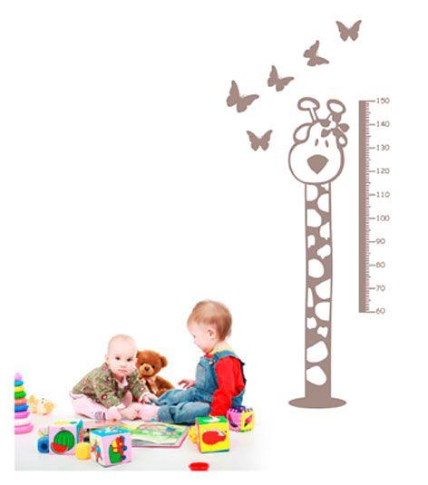 Coart Muursticker Kinderkamer Coart - Meetlat Giraf (Bruingrijs)