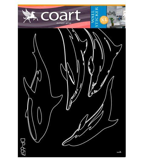 Coart Muursticker Kinderkamer Coart - Dolfijnen (Grijs)