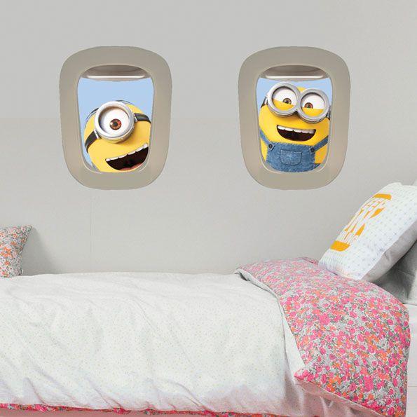 Imagicom Muursticker Imagicom - Minions Vliegtuigraampjes