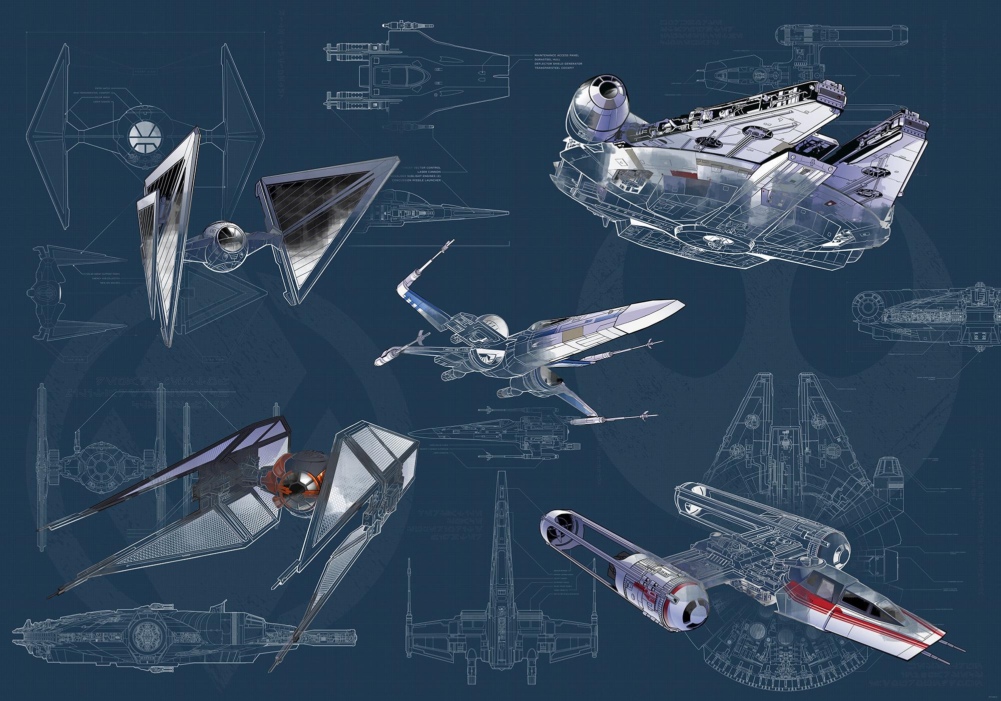 Disney Edition 4 Kinderbehang Komar - Kinderkamer behang Star Wars Blueprint Dark