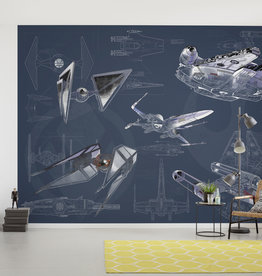 Disney Edition 4 Kinderbehang Komar - Kinderkamer behang Star Wars Blueprint Dark