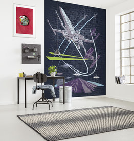 Disney Edition 4 Kinderbehang Komar - Kinderkamer behang Star Wars Classic Concrete X-Wing