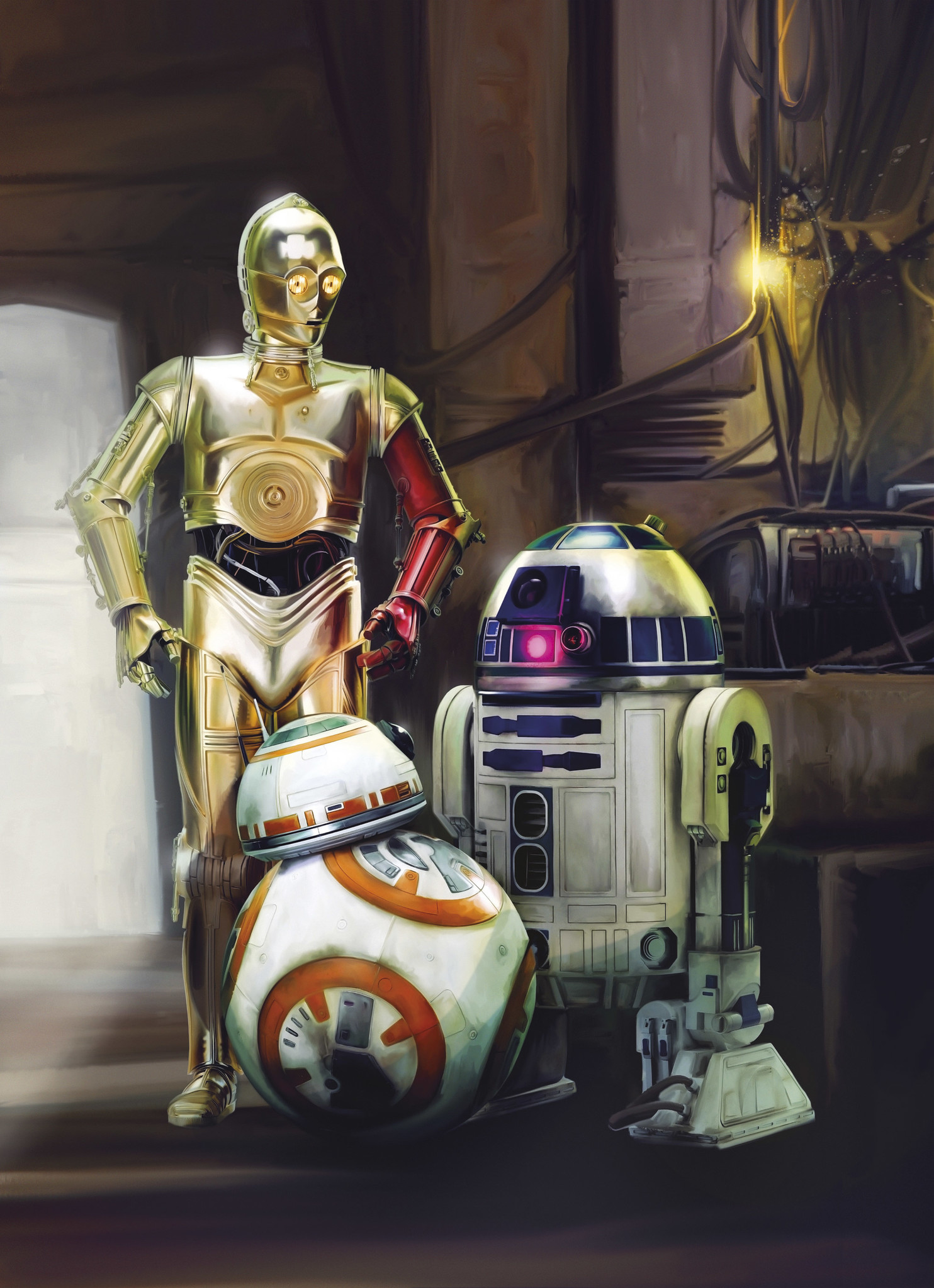 Disney Edition 4 Kinderbehang Komar - Kinderkamer behang STAR WARS THREE DROIDS