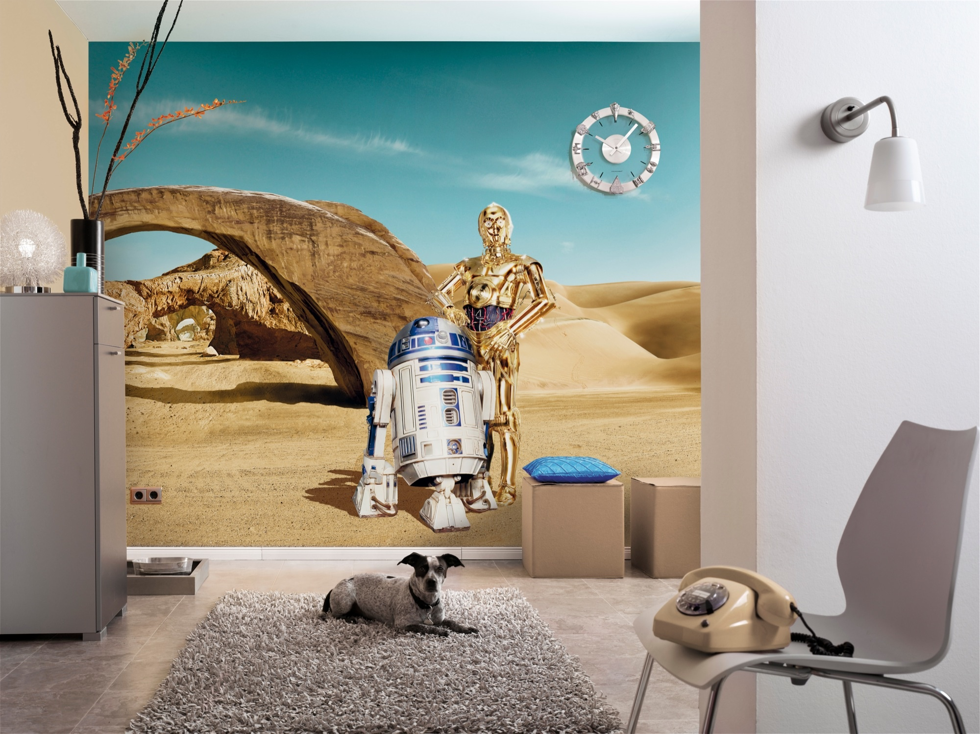 Disney Edition 4 Kinderbehang Komar - Kinderkamer behang  STAR WARS LOST DROIDS