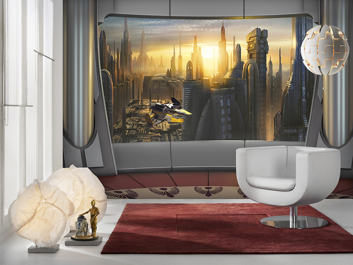 Disney Edition 4 Kinderbehang Komar - Kinderkamer behang  STAR WARS CORUSCANT VIEW