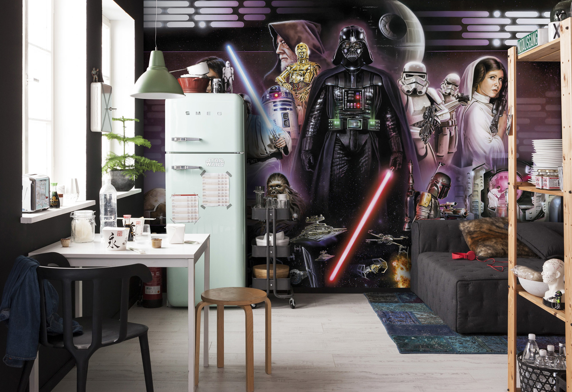 Disney Edition 4 Kinderbehang Komar - Kinderkamer behang  STAR WARS DARTH VADER COLLAGE