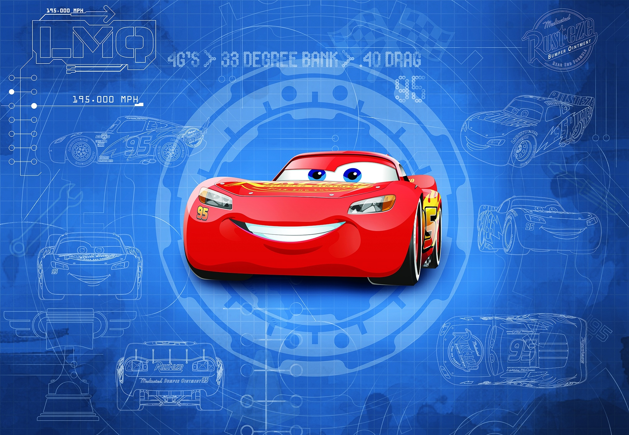 Disney Edition 4 Kinderbehang Komar - Kinderkamer behang  CARS3 BLUEPRINT