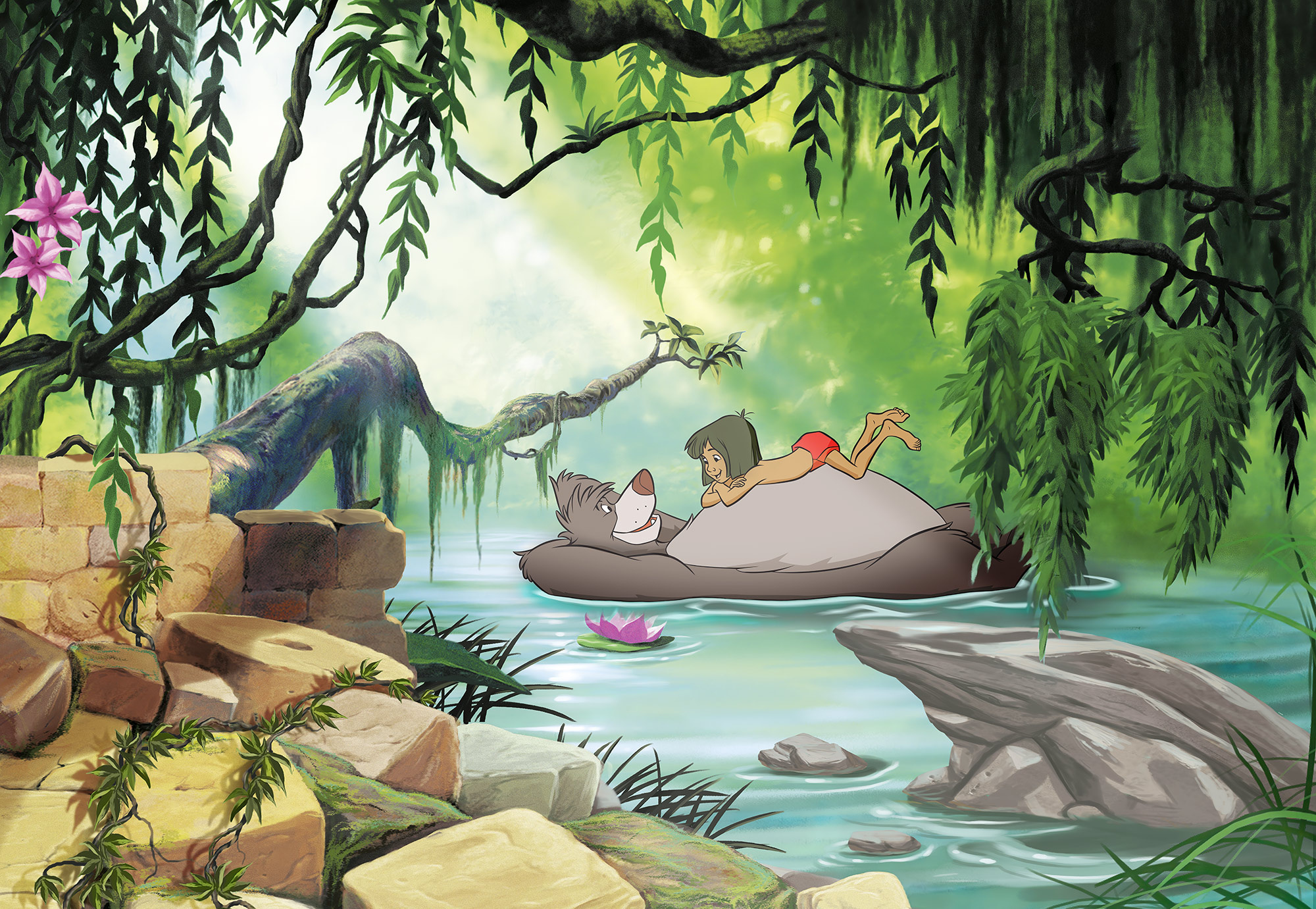 Disney Edition 4 Kinderbehang Komar - Kinderkamer behang JUNGLE BOOK SWIMMING BALOO