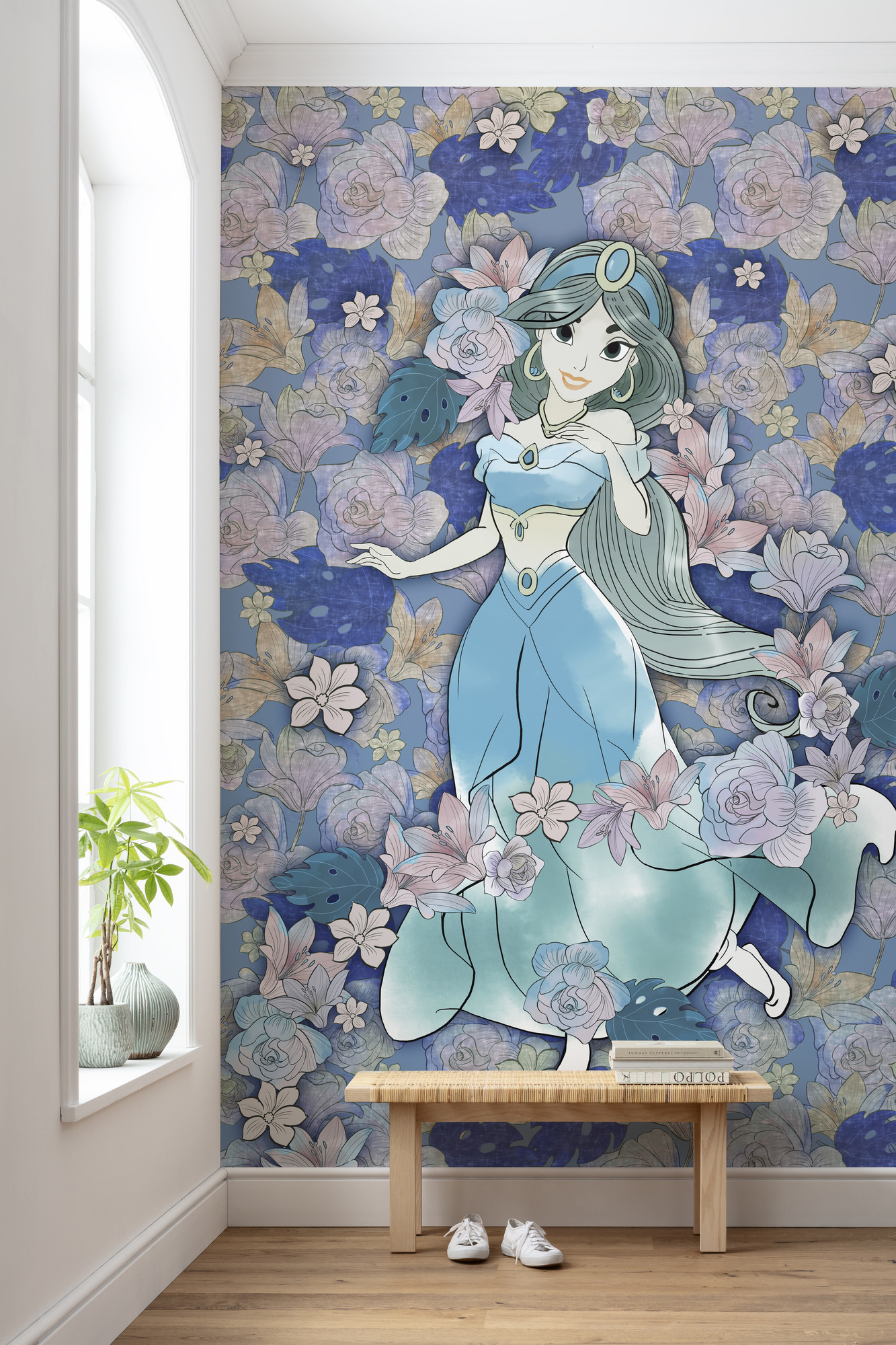 Disney Edition 4 Kinderbehang Komar - Kinderkamer behang Jasmin Colored Flowers