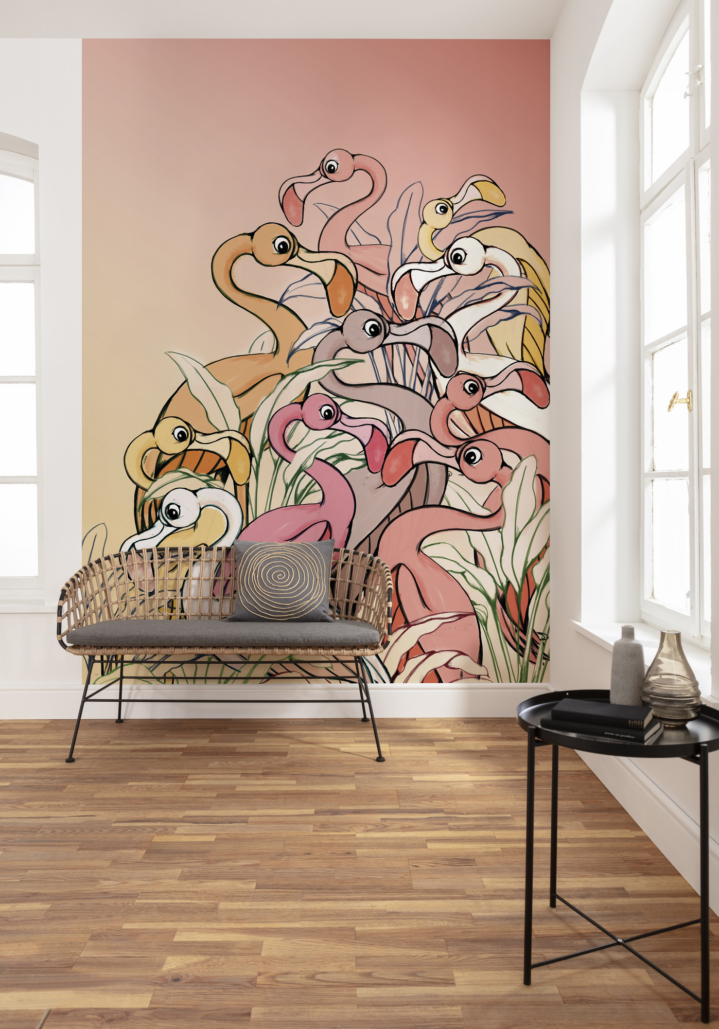 Disney Edition 4 Kinderbehang Komar - Kinderkamer behang Flamingos and Lillys