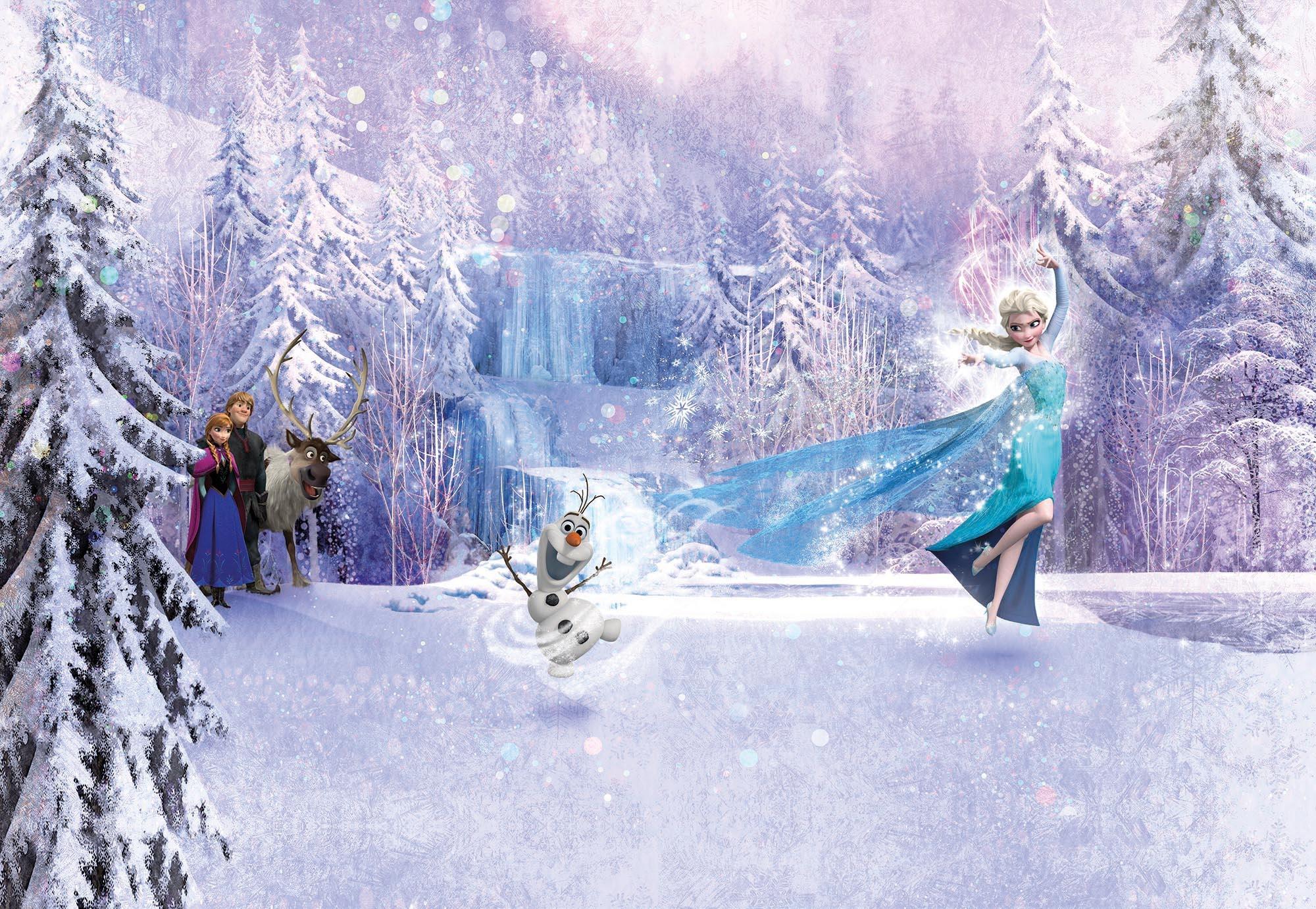 Disney Edition 4 Kinderbehang Komar - Kinderkamer behang  FROZEN FOREST