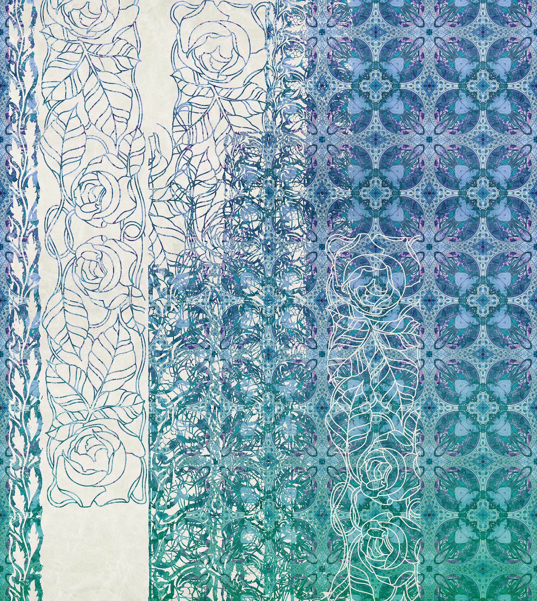 Heritage Edition 1 Fotobehang Komar - Bloemen behang ART NOUVEAU BLEU