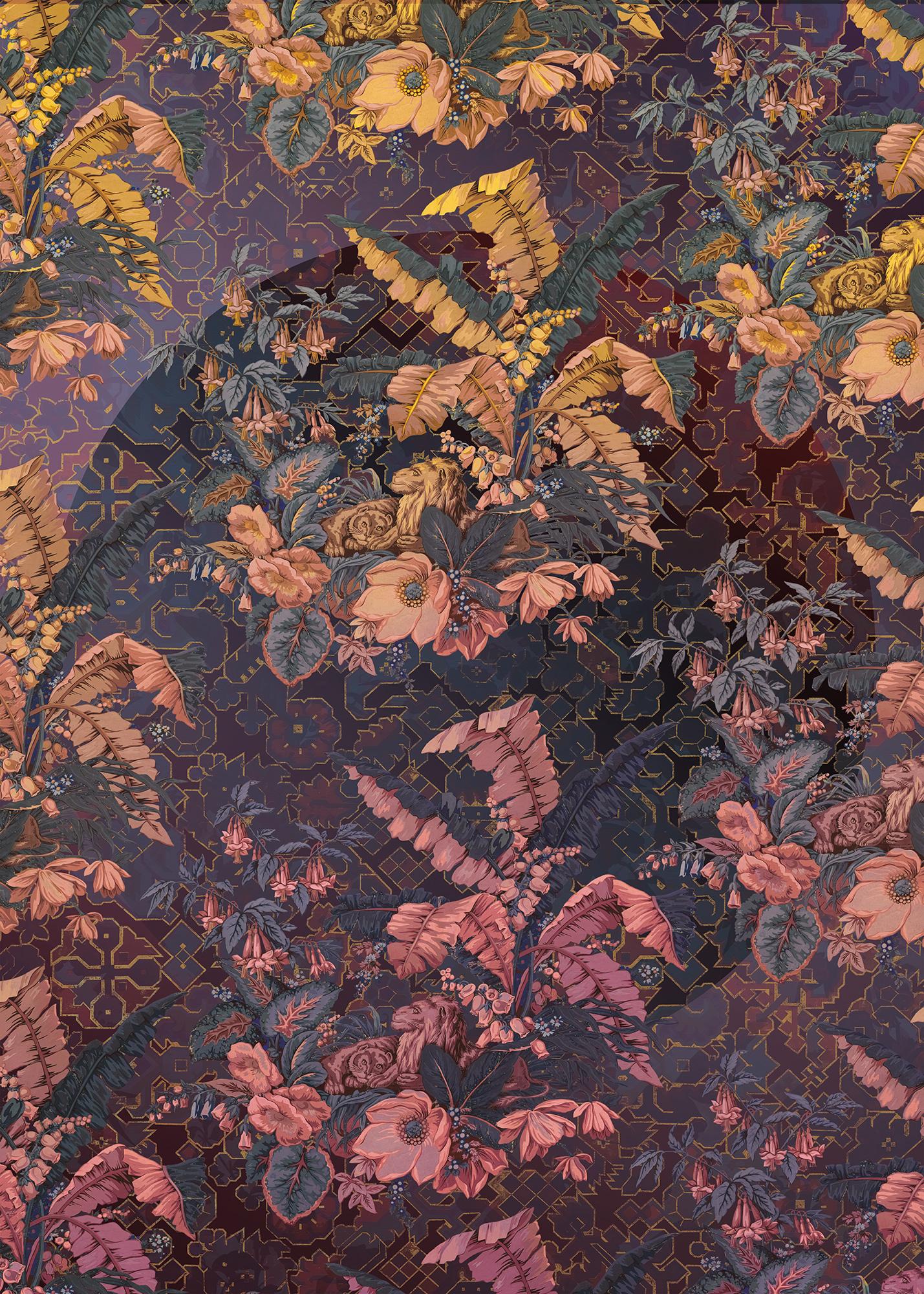 Heritage Edition 1 Fotobehang Komar - Bloemen behang ORIENT VIOLET