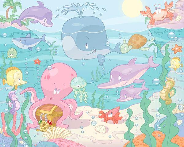 Walltastic Kinderbehang Walltastic XXL - Baby Onderwater