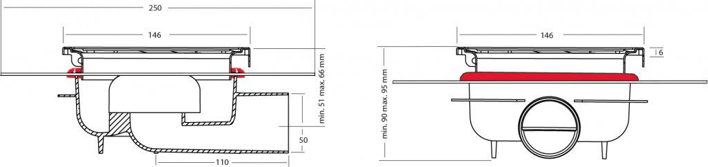 van den Berg Afvoerputten BV Doucheput 146 x 146 mm, met waterdicht membraan