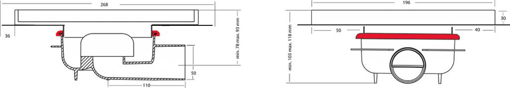 van den Berg Afvoerputten BV ABS puthuis met RVS rand en rooster 196 x 196 mm
