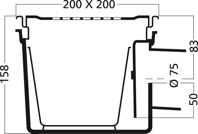 van den Berg Afvoerputten BV Emmerput 200 x 200 mm met zijuitlaat