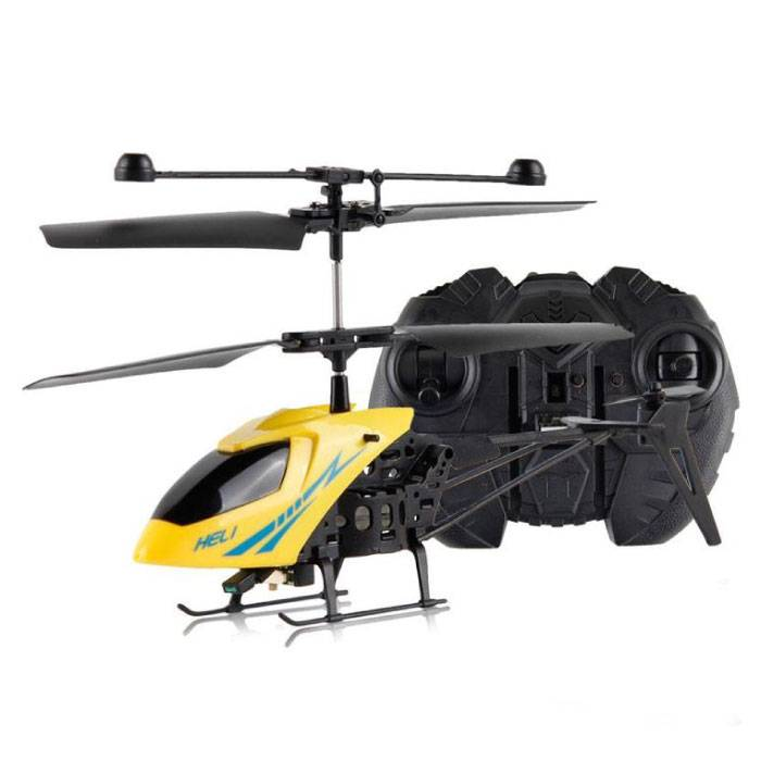 Desert Hawk Mini RC Drone Helicopter Toy Gyro Lights Yellow