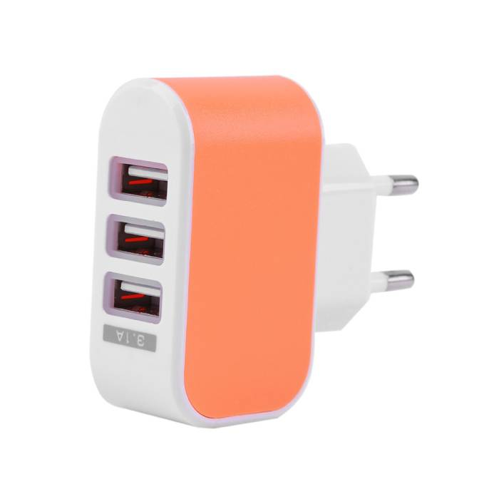 Triple (3x) USB Port iPhone/Android 5V - 3.1A Muur Oplader Wallcharger AC Thuis Oranje