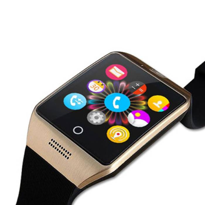 Q18 original SmartWatch HD Curved OLED Smartphone Watch Android iOS Gold