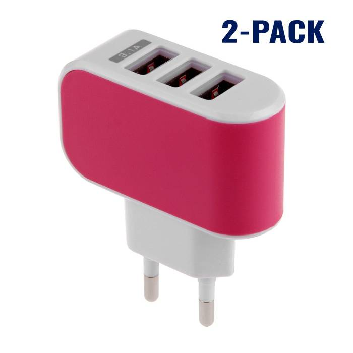 Stuff Certified ® 2-Pack Triple (3x) USB Port iPhone / Android Wall Charger Wall Charger Pink