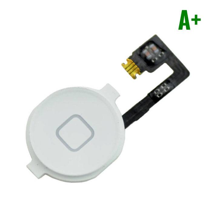Voor Apple iPhone 4 - A+ Home Button Assembly met Flex Cable Wit